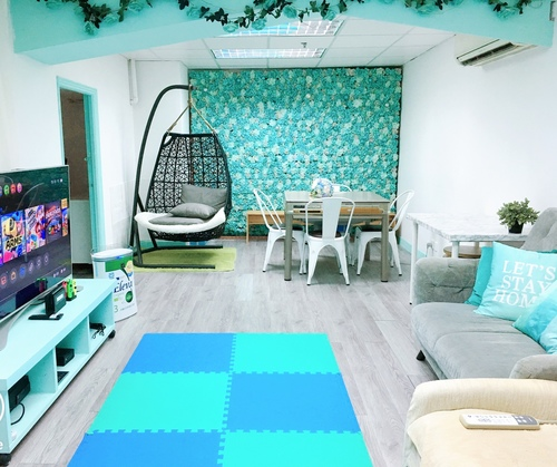 Party Room 葵涌 Hong Kong hk 香港 玩樂活動 場地 LazyBoss -Tiffany blue 主題房 適合 4 至 12 人